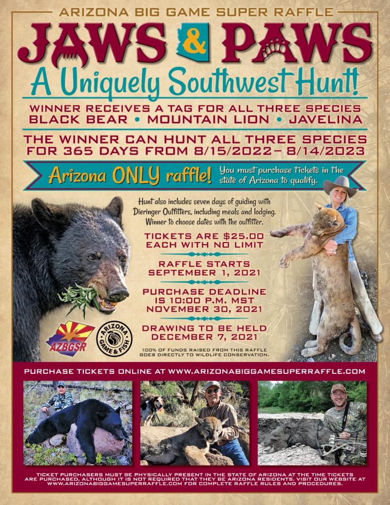 2021 Jaws & Paws Raffle Unique SW Hunt Bear, Mt Lion & Javelina