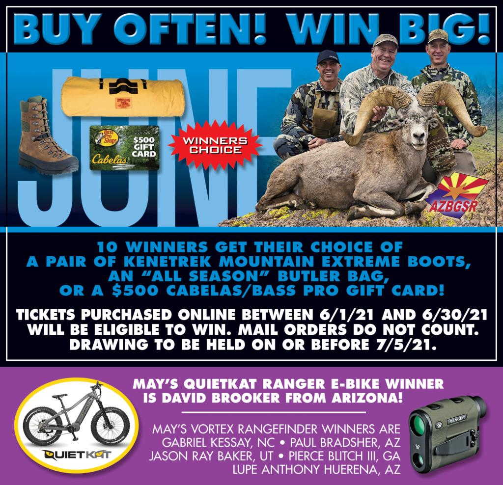 AZ Big Game Super Raffle June 2021 Bonus Prize Winner Pick